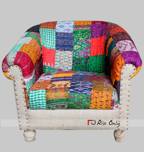 Rise Only Cloth and Jute Fabric Upholstered Sofa