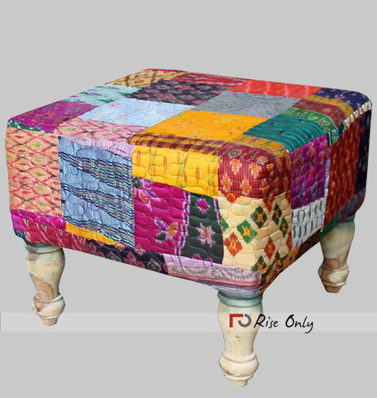 Rise Only Cloth Patchwork Upholstered Ottoman