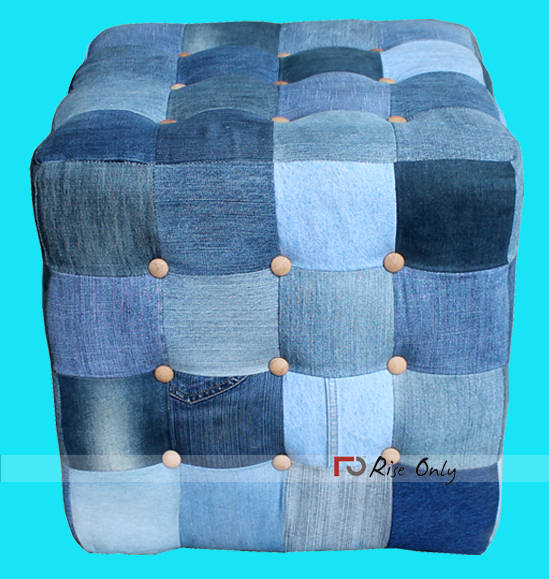 Rise Only Denim Upholstered Pouf Furniture