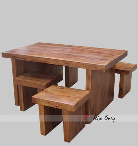 Hollow Dining Table Set With 4 Stools Thick Wood Slab
