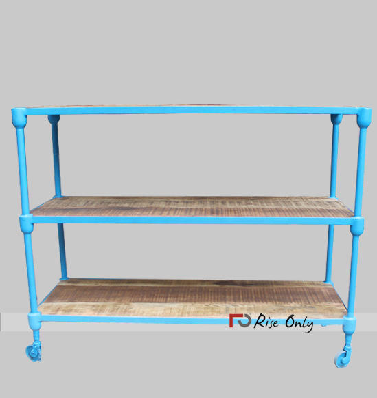 Rise Only Industrial Iron and Wooden Bookshelf