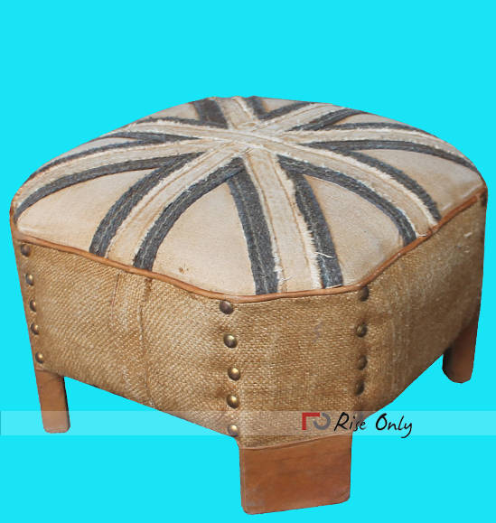 Rise Only Industrial Tufted Canvas Ottoman