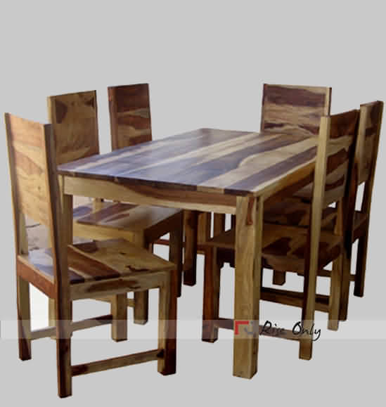 Rise Only Sheesham Wood Dining Table Set