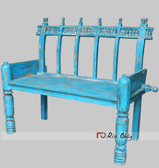 Blue Painted Distressed Bench, Wooden Painted Benches Blue