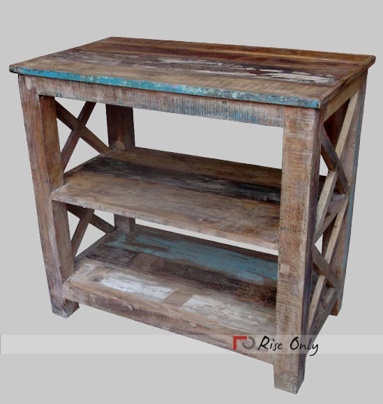 Rough Reclaimed Wooden Garden Side Table Singapore