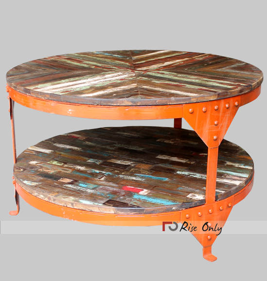 Round Iron and Recycled Wooden Centre Table