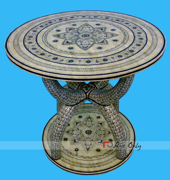 Round Shaped Dining Table Bone Inlay