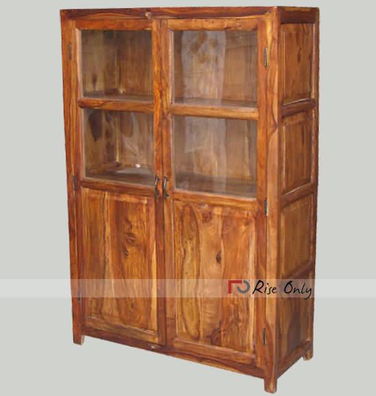 Solid Sheesham Wood Small Glass Bookshelf Bookcase