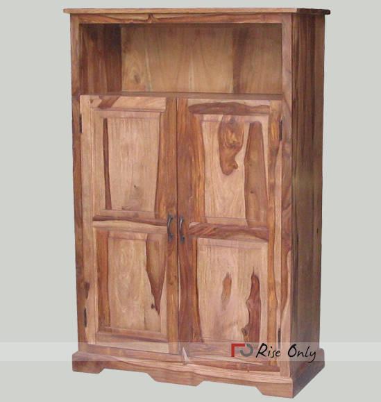 Teak Wood Antique Bookcase Almirah Glass Door Bookcase