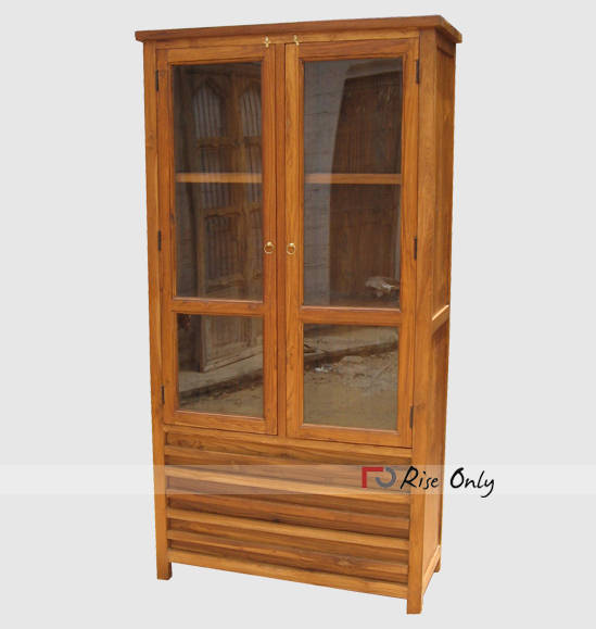 Rise Only Teak Wood Glass Almirah