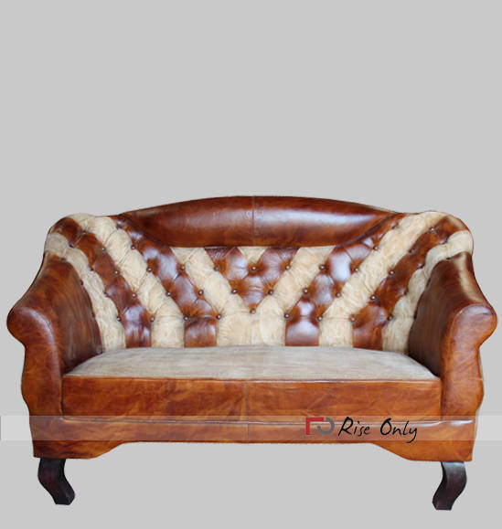 Upholstered Sofa of Leather and Canvas