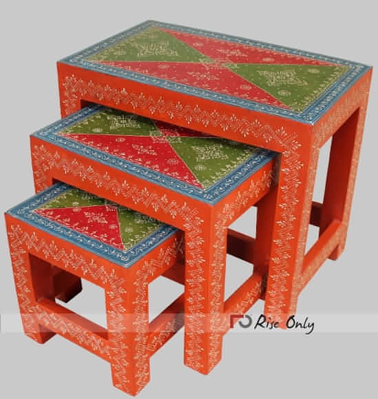 Vintage Multicolor Wooden Stools Painted