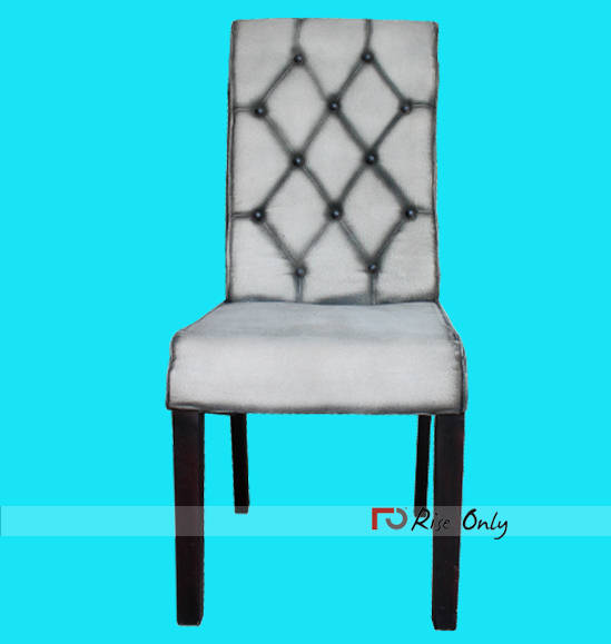 White Canvas Upholstered Dining Chair