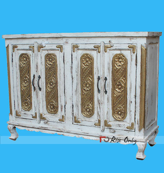 White Wash Hand Painted Wooden Side Board