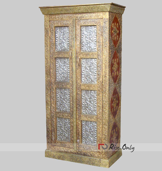 Wooden Brass Fitted Acacia Wood Almirah Wardrobe