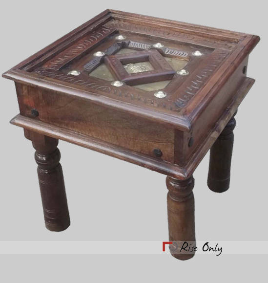 Wooden Brass Fitting Small Vintage Coffee Table
