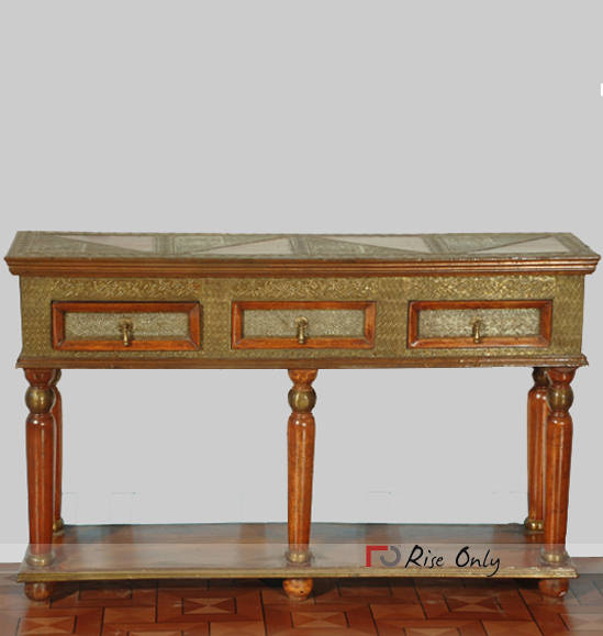 Wooden Cheap Console Table with Brass Fitting