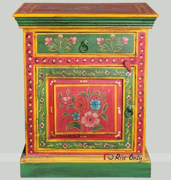 Wooden Hand Painted Bedside Table Online