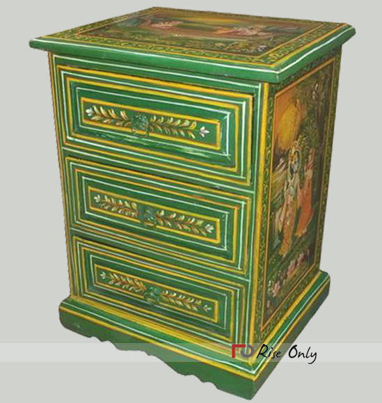 Wooden Mango Wood Painted Bedside Table Online