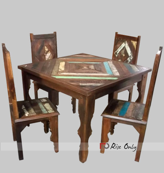Wooden Rough Finish Patio Dining Table Sets With Chairs