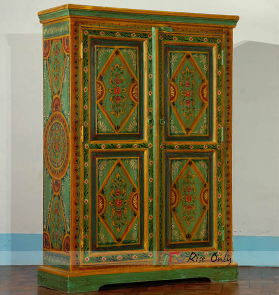 Wooden Stylish Mango Wood Painted Almirah Online